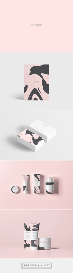 Teoxane on Behance by Tuper Oir Paris, France PD curated by Pacskaging Diva PD. Pretty in pink cosmetic packaging branding. Refonte du logo / charte graphique, art direction, graphic design.