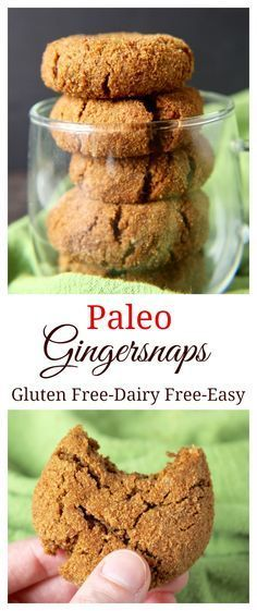 Gluten free recipe - Dairy free - Paleo -Gingersnaps- these cookies are soft, chewy and full of flavor! Easy to make, gluten free, dairy free, and so delicious! You have to make them this year! Dessert Sans Gluten, Gluten Free Sweets, Paleo Dessert, Dairy Free Recipes, Healthy Desserts, Gluten Free Recipes, Whole Food Recipes, Dessert Recipes, Healthy Recipes