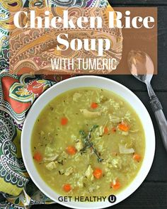 This healthy chicken and rice soup with fresh sage, thyme, and tumeric is a flavor masterpiece and gluten-free!
