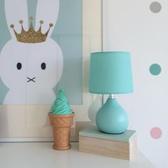 Mint ice cream coin bank and bedside lamp, Instagram photo by @stella_s_loves