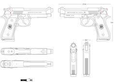 Beretta 92, Tt Pistol, 9 Mm, Orthographic Drawing, Airplane Drawing, Character Model Sheet, Concept Weapons, Cool Guns, Reference Images