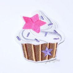Rockin Neon Pink Star Cupcake Embroidered Iron On Patch MTCoffinz    $8