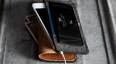 [Nice sideways angle] -- Beautiful, leather and wool iPhone wallet with Heritage Style