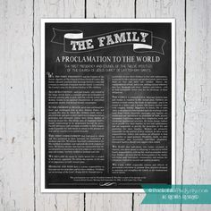 Chalkboard Family Proclamation INSTANT DOWNLOAD by PocketFullofPixels, $5.00. The Family: A Proclamation to the World