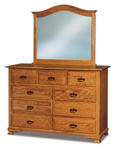 Amish Hoosier Heritage Nine Drawer Dresser with Optional Mirror Elegant bedroom storage for your beautiful bedroom. Nine drawers made with the wood and finish you choose. #bedroomdresser #9drawerdresser #Amishfurniture