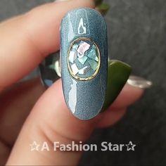 Nail Art ✰A Fashion Star✰ met steentjies<br> Star Nail Designs, Nail Art Designs Videos, Nail Design Video, Nail Art Videos, Star Nail Art, Star Nails, 3d Nails, Star Art, Pastel Nails