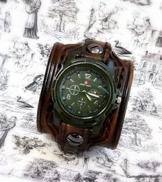 Men's Leather Cuff Watch, Wrist Watch, Watch, Bracelet Watch, Watch Cuff, Army Green