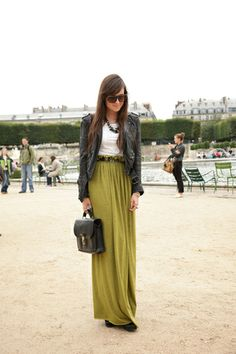 Maxi skirt + leather jacket + heels = perfect look ;)     Add to that an awesome vintage belt !