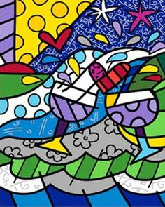 """""""Wine Country"""" by Romero Britto Wine Painting, Graffiti Painting, Stained Glass Designs, Famous Art, Arts Ed, True Art, Wine Country, Abstract Pattern, Pop Art"""