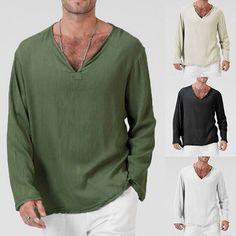 Mens Vintage Casual V Neck Retro Loose Long Sleeve Cotton Linen T-Shirt Tee Tops Casual T Shirts, Men Casual, Casual Tops, Casual Wear, Shirts With Holes, Hippie Shirt, Linen Tshirts, Herren T Shirt, Golf Shirts