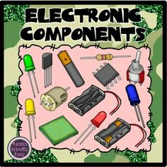 Electronic Components Clip Art (including circuit symbols) - Color & Black line $