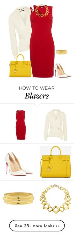 """outfit 2268"" by natalyag on Polyvore featuring Gucci, Christian Louboutin, Versace, Stephanie Bates and Yves Saint Laurent"