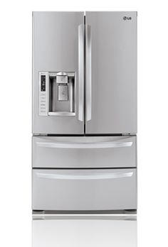 one of my dream appliances. a stainless steel refrigerator with an ice maker.
