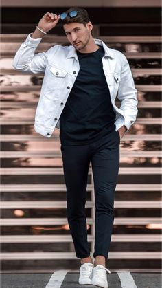 Perfect And Stylish Men Casual Outfit With Jacket 25 Hot Summer Outfits, Summer Fashion Outfits, Spring Outfits, Casual Outfits, Spring Clothes, Spring Fashion, Stylish Men, Men Casual, Smart Casual