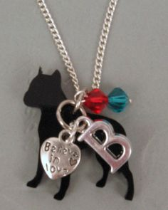 "Remembrance Initial Necklace Lazer Cut Pit Bull Czech Glass Beads 2 Sided Charm ""Believe in Love"""