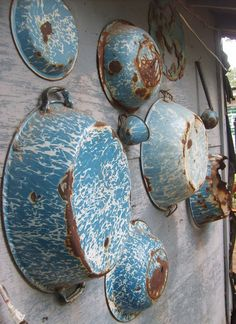 Even old & rusty & no longer able to be used, Blue & White Enamelware evokes memories of days gone by, of grandma's house, of campfires & fireflies. Country Blue, Country Charm, Rustic Charm, Country Decor, Country Treasures, Country Living, Vintage Antiques, Vintage Items, Primitive Antiques