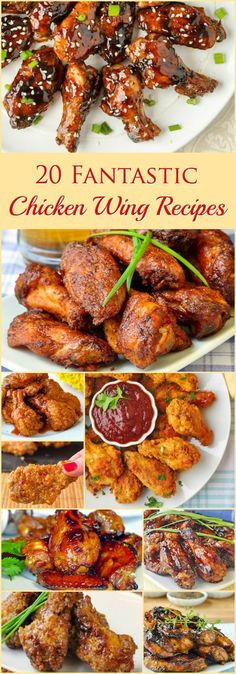 20 Fantastic Chicken Wing Recipes - baked, grilled or fried our popular pin for 15 wing recipes has been updated to TWENTY! From classic Honey Garlic to Honey Peach Barbecue or Baked Kung Pao, find your fave wings here. Cooking Chicken Wings, Baked Chicken Wings, How To Cook Chicken, Fried Chicken, Chicken Breasts, Turkey Recipes, Meat Recipes, Appetizer Recipes, Cooking Recipes