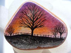 Sunset trees  Miniature art on Italian sea pottery by Alienstoatdesigns, £25.00
