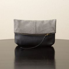 Suede Leather and Leather Foldover Clutch  Grey by jillydesigns, $99.00
