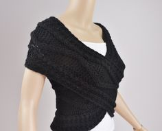 Super Slim - Cross Sweater/Capelet/Neck warmer in BLACK. $68.00, via Etsy.