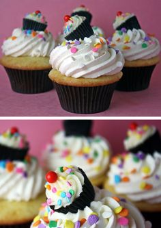 Bake your favorite cupcakes and prepare a delicious frosting. Use the same frosting to decorate a Reese's mini peanut butter cup. Add the same topping decoration used (just in a smaller size) on the big cupcake and then place the Reese cupcake on the bigger cupcake. Ta da! Simply fantastic and colorful!