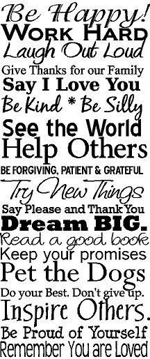 FAMILY RULES Dream Big Forgive Pet the Dogs 12x28 Vinyl Decal Home Decor Door Wall Lettering Words Quotes