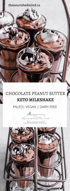 This Chocolate Peanut Butter Keto Milkshake is so decadent--and so healthy. It's vegan paleo dairy-free and you'll never guess the health food I sneakily put it in (hint: it's a frozen veg) Keto Chocolate Chips, Chocolate Peanuts, Chocolate Peanut Butter, Healthy Chocolate, Keto Recipes, Snack Recipes, Dessert Recipes, Paleo Dessert, Cream Recipes