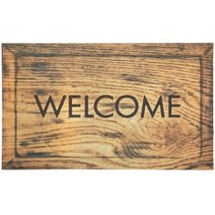 Simple Welcome Woodgrain Welcome 18-Inch by 30-Inch Doormat by Townhouse Rugs. $25.99. Recycled rubber with heat transfer polyester flock face. Durable. Machine made doormat. Recycled rubber backing. Clean with vacuum or shake out occasionally rinse with garden hose air dry. Inspired by wood, this doormat is a simple way to welcome visitors to your home. Crafted from recycled rubber this mat is an addition to any entryway. Our recycled rubber doormats have a high definitio...