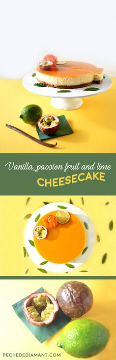 A delicious and easy recipe for an elegant vanilla, passion fruit and lime cheesecake. The jelly is made with agar-agar (vegetarian-friendly).