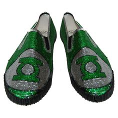 Green Lantern glitter shoes by NerdyGlitterShoes on Etsy, £30.00