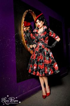 Haunted Housewife Dress in Red Rose Print--I need this in my life.