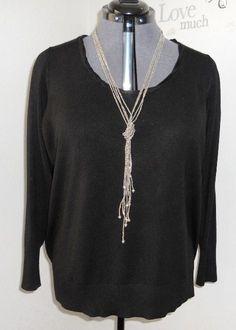 Lane Bryant 22/24W black long sleeve scoop braided neck sweater #LaneBryant #ScoopNeck