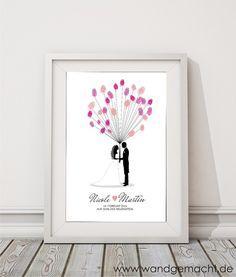 """Hochzeitsgästebuch - wedding tree """"Brautpaar"""" A3 inkl. Stempelkissen - ein Designerstück von wandgemacht bei DaWanda"""