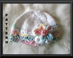 Baby Hat Pattern Instant Download Hat Pattern Knitted Hat Pattern Infant Knit Hat Pattern Baby Hat with Flower Hat Pattern : BIG FAT FLOWER