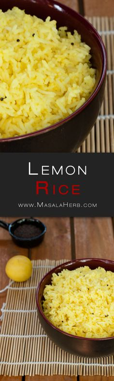 Lemon Rice Recipe - How to make Lemon Rice www.MasalaHerb.com #Recipe #Indianfood #spiced