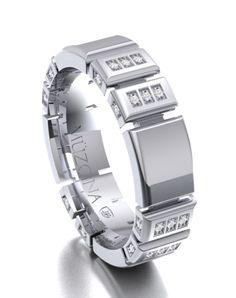 Jewelry Rings, Fine Jewelry, Unique Jewelry, Silver Jewelry, Mens Diamond Bracelet, Platinum Diamond Wedding Band, Gold Ring Designs, Beautiful Wedding Rings, Gold Rings