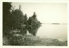 """Barney led the way down a little path to the edge of the lake.  'There's our island,' he said gloatingly.  Valancy looked--and looked--and looked again. There was a diaphanous, lilac mist on the lake, shrouding the island. Through it the two enormous pine-trees that clasped hands over Barney's shack loomed out like dark turrets. Behind them was a sky still rose-hued in the afterlight, and a pale young moon.""  (Treasure Island, Lake Muskoka, Ontario)"