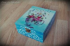 Blue, wooden box for tea www. Wooden Boxes, Decoupage, Decorative Boxes, Tea, Handmade, Blue, Home Decor, Wood Boxes, Wooden Crates