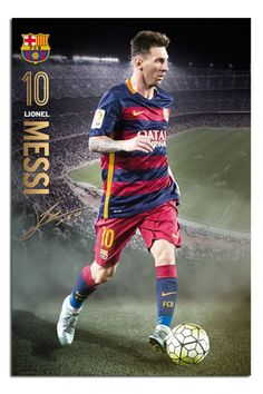 FC Barcelona - Sports / Soccer Poster / Print (Lionel Messi In Action) (Size: x (Black Poster Hanger): The Poster will come with an easy to hang poster hanger. One hanger will go on the top of the poster and one hanger will go on the bottom. Fc Barcelona, Barcelona Sports, Barcelona Players, Lionel Messi Barcelona, Good Soccer Players, Football Players, Football Soccer, Soccer Sports, Messi 2015
