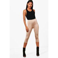 Boohoo Hayley Cropped Disco Slinky Leggings ($6) ❤ liked on Polyvore featuring pants, leggings, sport leggings, palazzo pants, white leggings, disco pants and sports leggings
