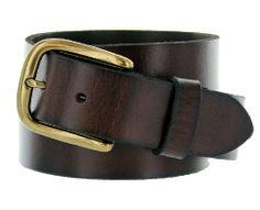 "Men's Full Grain Leather Casual Jean Belt 1-1/2"" Black Brown"