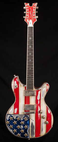 McSwain Red White & Bullets - American National Pride shown in this electric guitar designed to remind you of a flag. #cSw:) - 4 5 6 STRINGS. Pinned via purpledenize3.