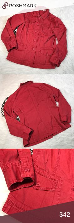 CAbi #208 Red Multi Pocket Button Down Jacket * CAbi #208 Women's Maroon Red Multi Pocket Button Down Jacket Collared * Size Medium * Made of 100% cotton.  * Pre-owned, but in excellent condition.  * Measurements: Underarm to underarm is 17 1/2 inches. Length is 24 1/2 inches. CAbi Jackets & Coats