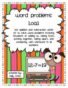 This pack includes assessments and printables for teaching word problems within 20 for the primary students.This pack addresses the Common Core Standard 1.OA.1 - use addition and subtraction within 20 to solve word problems involving situations of adding to, taking from, putting together, taking apart, and comparing, with unknowns in all positionsThis package contains:- title page p.1- table of contents p.2- addition and subtraction word problem assessments p.3-6- word problems with missing…