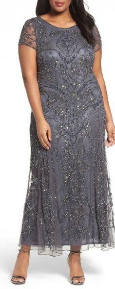 Plus Size Women's Pisarro Nights Beaded Short Sleeve Column Gown, Size 14W - Grey
