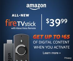 Fire TV Stick with Alexa Voice Remote, streaming media player - Previous Generation Amazon Specials, Alexa Voice, Amazon Associates, Trials, Coupons, Gears, Health And Wellness, First Love, Remote