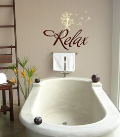 Relax with dandelion- Bathroom-Vinyl Lettering wall words graphics Home decor itswritteninvinyl. $23.55, via Etsy.