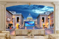 30.00$  Watch here - http://alinf8.shopchina.info/go.php?t=32670912800 - Large 3d murals,Rome Italy Temples Houses Night Street lights Cities wallpaper,living room sofa tv wall  bedroom papel DE parede 30.00$ #aliexpressideas
