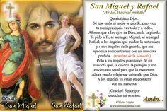 Vidas Santas: Estampita y Oración a San Miguel y San Rafael, Arcángeles por una Mascota perdida