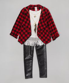 Look at this Just Kids Red & Black Plaid Cardigan Set - Girls on #zulily today!